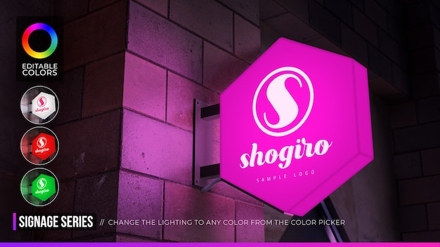 Hexagon sign logo mockup on facade or storefront with day and night lighting