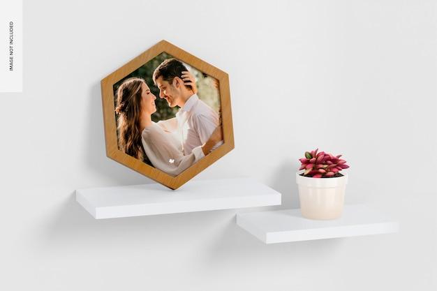 Hexagon wall photo frame mockup, on shelf