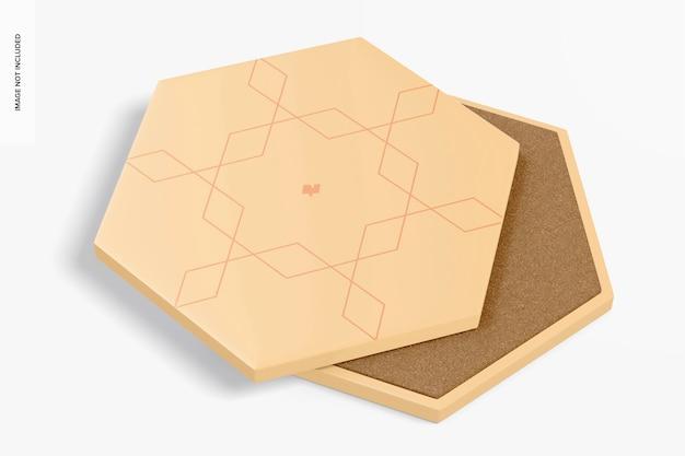 六角形のコースターのモックアップ