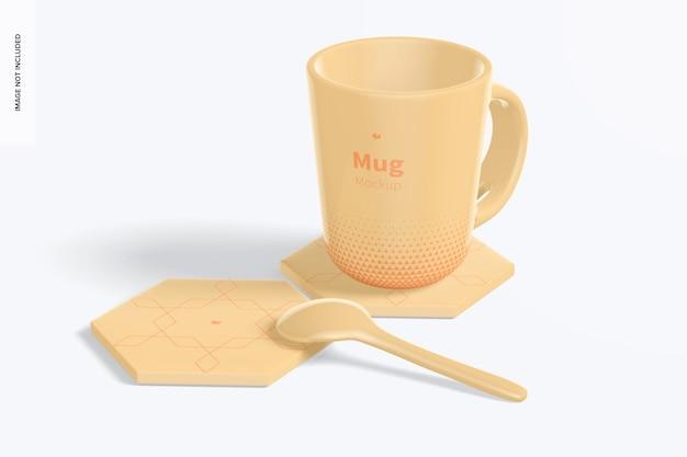 Hexagonal coasters with mug mockup