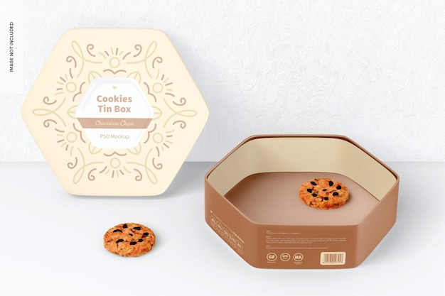 육각형 쿠키 주석 상자 모형, 열림 및 기울임
