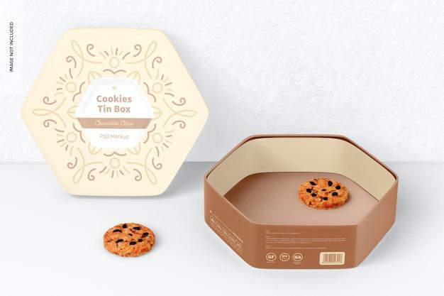 Hexagonal cookies tin box mockup, opened and leaned