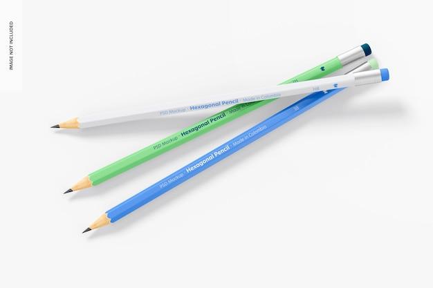 六角形の鉛筆のモックアップ