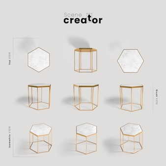 Hexagonal table view of spring scene creator