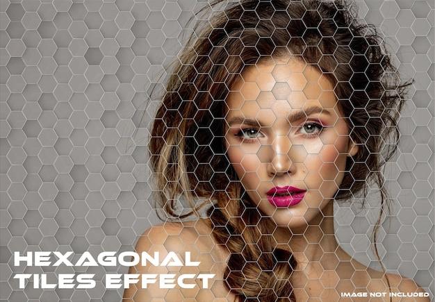 六角形のタイルの写真効果のモックアップ