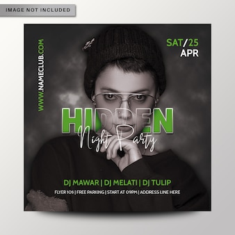Hidden night party flyer or poster template