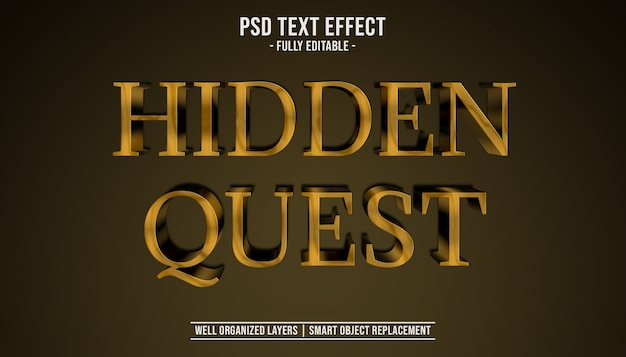 Hidden quest 3d text effect template