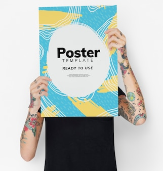 Hiding behind a colorful poster mockup