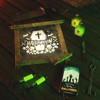 Расположение высокого угла для события хэллоуина с зеленым светом