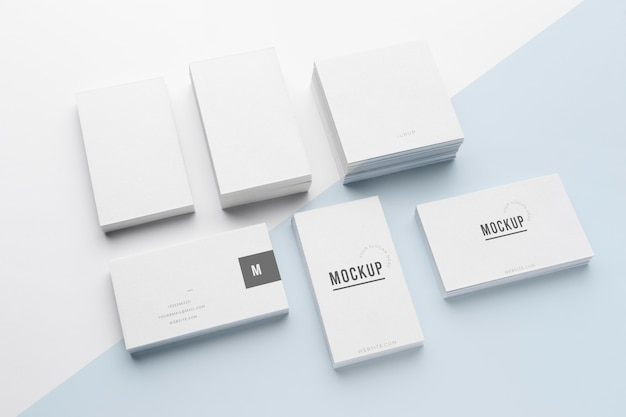 High angle arrangement of mock-up business card