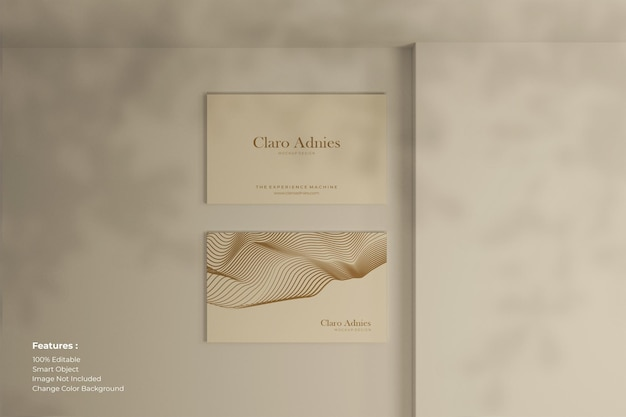High angle arrangement of mockup business card