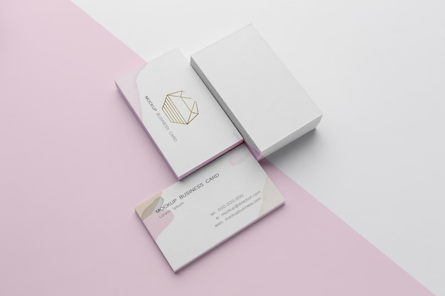 Макет визитки под высоким углом