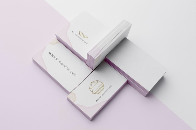 High angle assortment of mock-up business card