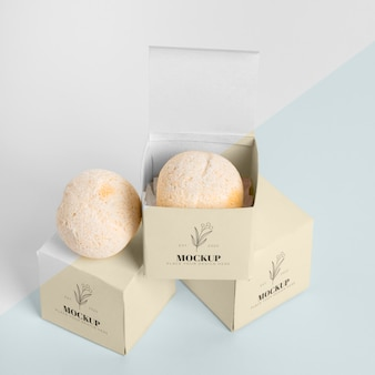 High angle bath bombs in boxes