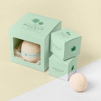 High angle bath bombs in green boxes