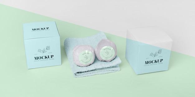 High angle bath bombs, towel and boxes
