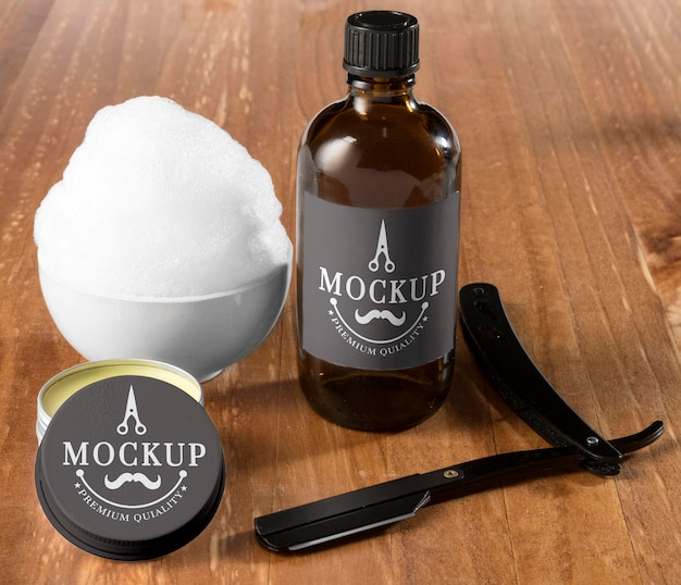 High angle of beard care set with balm and shaving foam
