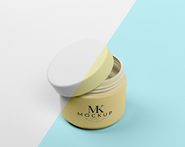 High angle of beauty cream in can mock-up