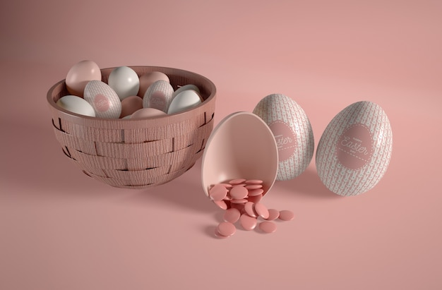 High angle bowl with easter eggs