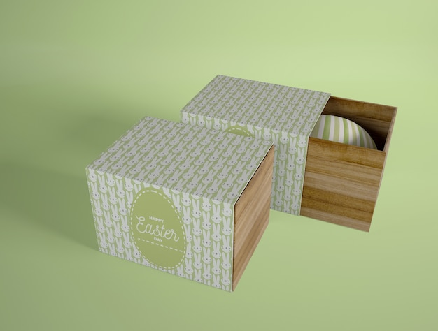 High angle boxes with eggs
