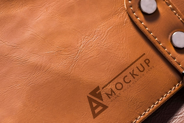 High angle of brown leather surface mock-up