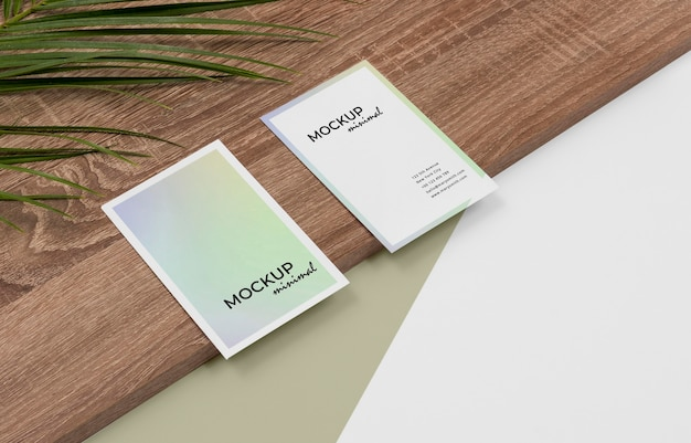 High angle business cards mockup