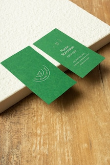 High angle business cards and wooden table