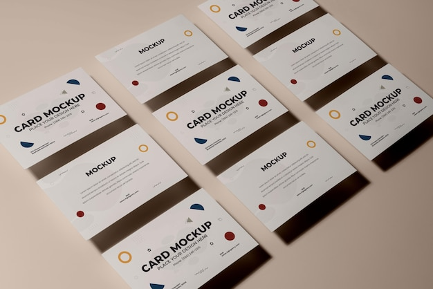 High angle business cards