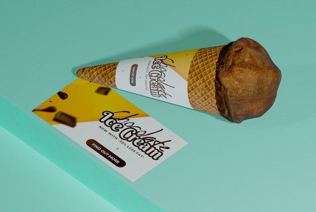 High angle of chocolate ice cream cone