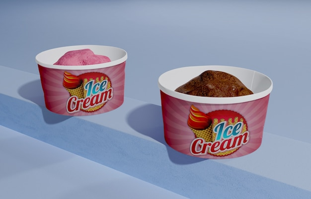 High angle of chocolate and strawberry ice cream in containers
