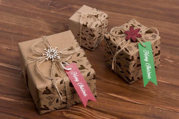 High angle christmas presents