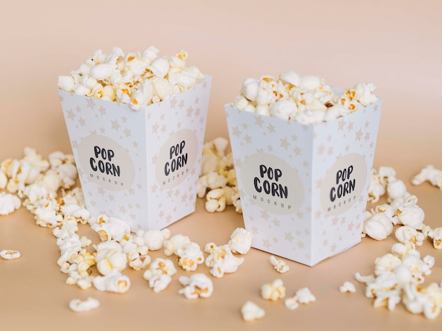 High angle of cinema popcorn