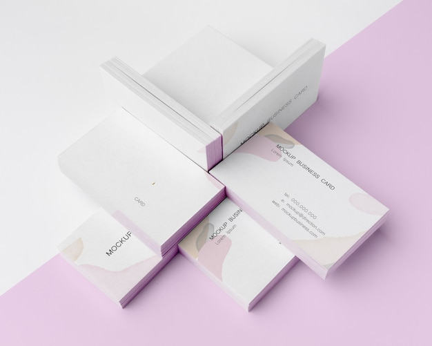High angle composition of mock-up business card