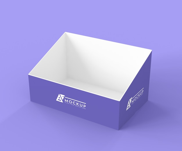 High angle creative purple exhibitor mock-up