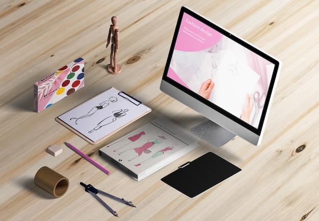High angle of designer desk with acuarelas