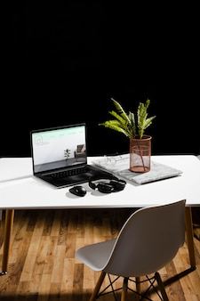 High angle of desk with laptop and plant