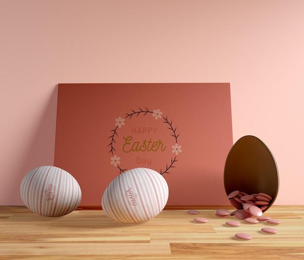 High angle easter card and eggs