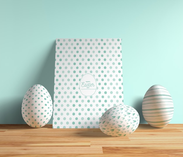 High angle easter card with eggs beside