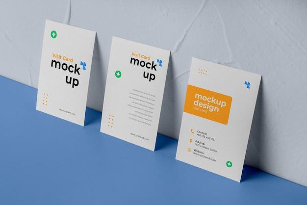 High angle geometric business cardsmockup