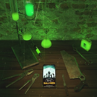 High angle green neon light with smartphone