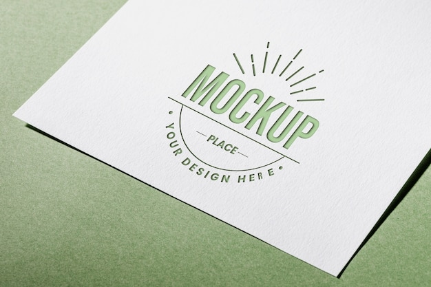 High angle of mock-up textured paper card for business