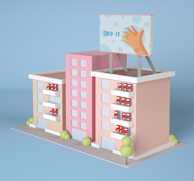 ロボットとコロナウイルスの看板を備えた高角度の建物