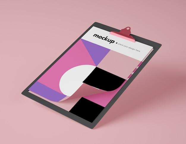 紙を使った高角度のモックアップメモ帳