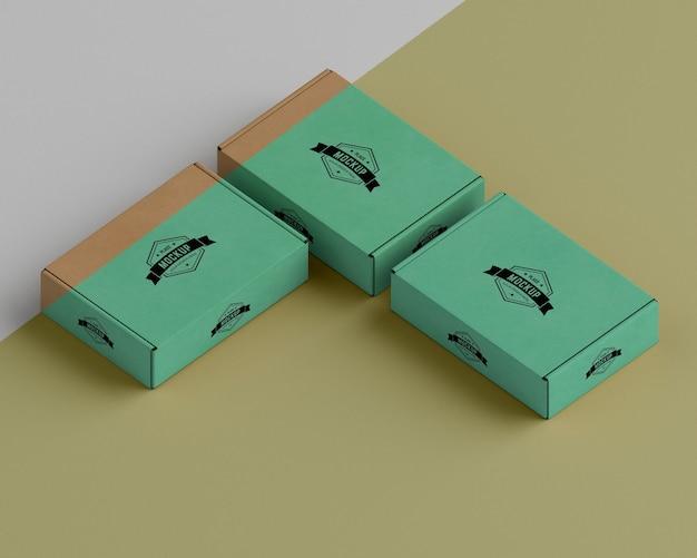 Макет упаковочной коробки под высоким углом