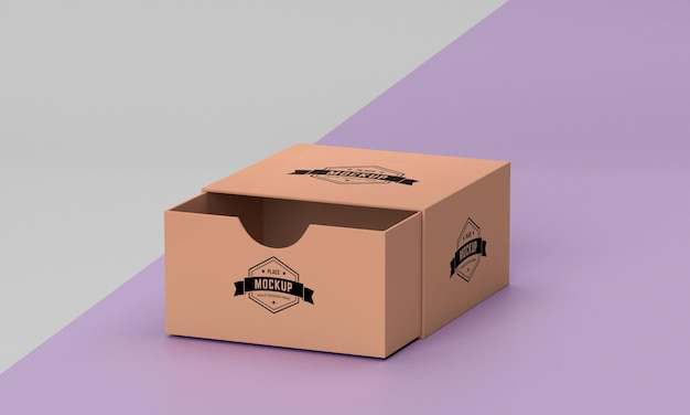 包装箱のモックアップの高角度