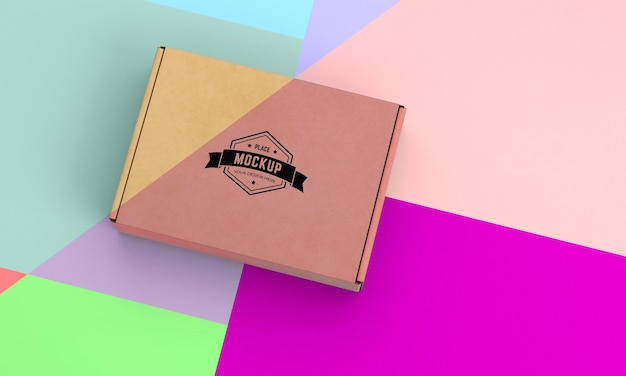 High angle of packaging box mock-up
