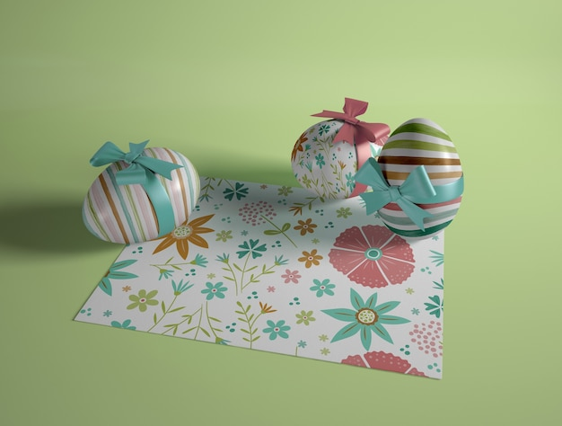High angle painted eggs on table
