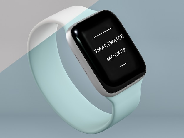 High angle presentation for smartwatch with screen mock-up