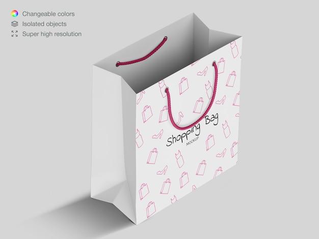 High angle shopping paper bag mockup template