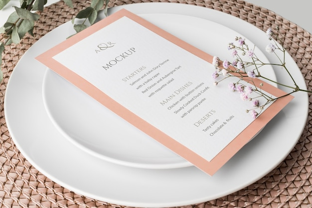 High angle of table arrangement with spring menu mock-up